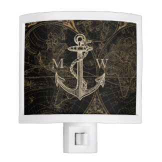 Old World Nautical Anchor Monogram Black Night Lite