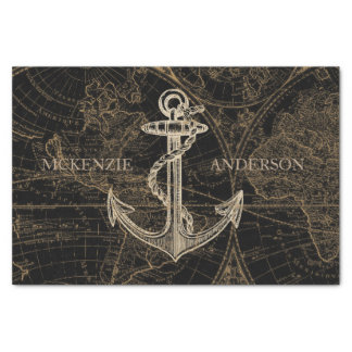 Old World Nautical Anchor Monogram Black Tissue Paper