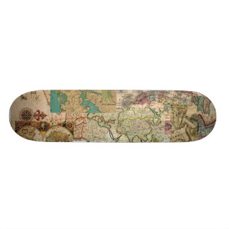 Old World Retro vintage Map looking board Custom Skate Board