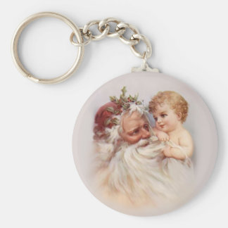 Old World Santa and Cherub Basic Round Button Keychain