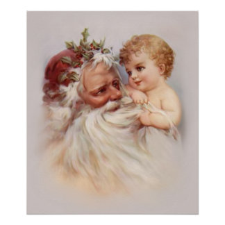 Old World Santa and Cherub Poster
