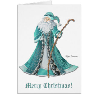 Old World Santa Merry Christmas Greeting Card