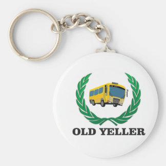 old yeller bus fun basic round button keychain