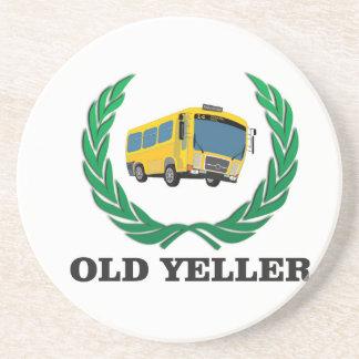 old yeller bus fun beverage coasters