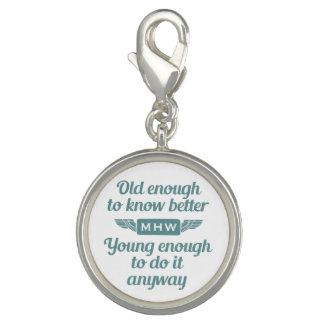 """Old & Young"" custom monogram charm / bracelet"