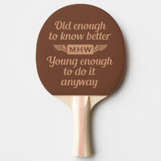 """""""Old & Young"""" custom monogram ping pong paddle"""