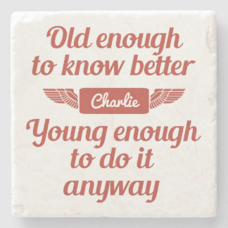 """""""Old & Young"""" custom name stone coaster"""