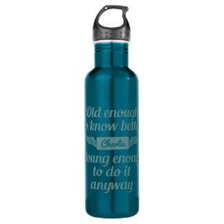 """Old & Young"" custom name water bottle"