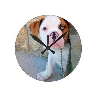 Olde English Bulldog Puppy Round Clock