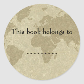 Olde world map book plate classic round sticker