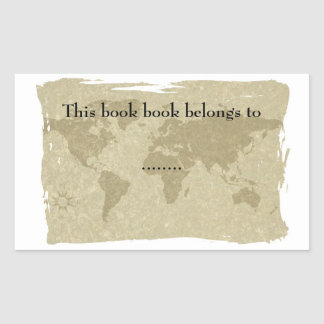 Olde world map book plate sticker