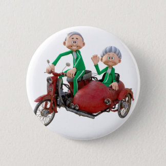 Older Couple on a Moped with Sidecar 2 Inch Round Button