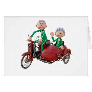 Older Couple on a Moped with Sidecar Card