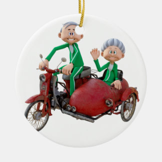 Older Couple on a Moped with Sidecar Ceramic Ornament