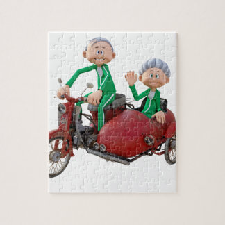 Older Couple on a Moped with Sidecar Jigsaw Puzzle