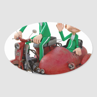 Older Couple on a Moped with Sidecar Oval Sticker