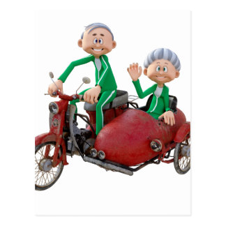 Older Couple on a Moped with Sidecar Postcard