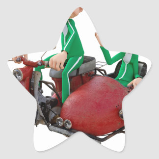 Older Couple on a Moped with Sidecar Star Sticker