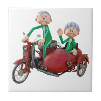 Older Couple on a Moped with Sidecar Tile