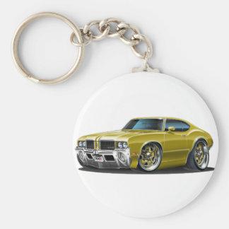 Olds Cutlass Gold Car Basic Round Button Keychain