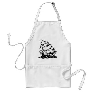 Olds Skool Tattoo Sailing Ship Navy Apron