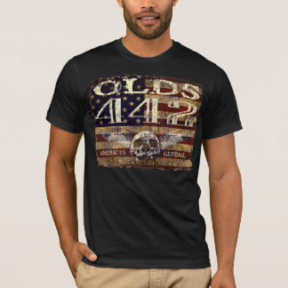 Oldsmobile 442 Design Against Eroded Flag T-Shirt