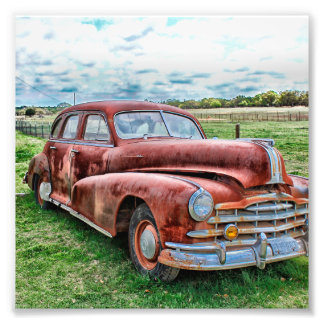 Oldsters Classic Car Vintage Automobile Old Rusty Photo Print