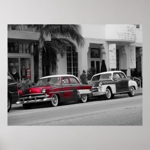 Oldtimer at Ocean Drive Miami Beach Poster