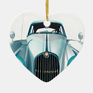 oldtimer car vintage automobile ceramic heart ornament