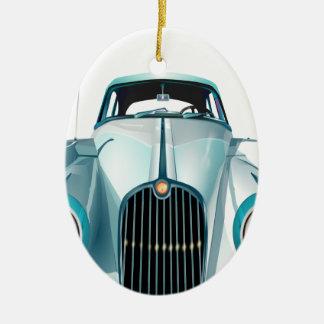 oldtimer car vintage automobile ceramic oval ornament