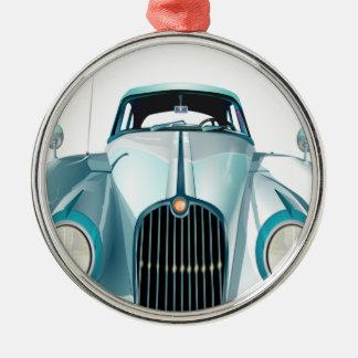 oldtimer car vintage automobile Silver-Colored round ornament