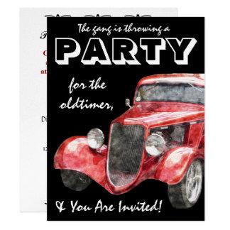 "Oldtimer Retirement Party Classic Hotrod Car 4.25"" X 5.5"" Invitation Card"