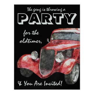 Oldtimer Retirement Party Classic Hotrod Car Custom Invitations