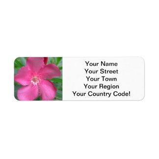 Oleander Pink Garden Return Address Label