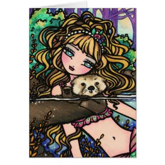 """Oliana's Otter"" Fantasy Mermaid Sea Otter Fairy Card"