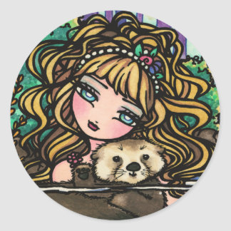 """Oliana's Otter"" Fantasy Mermaid Sea Otter Fairy Classic Round Sticker"