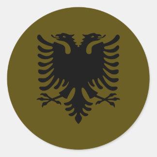 Olive Albanian Eagle Round Sticker