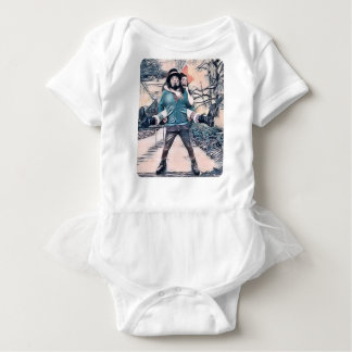 Olive and Dingo on the frozen stairs Baby Bodysuit