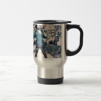 Olive and Dingo on the frozen stairs Travel Mug