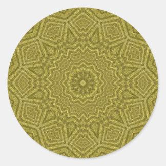 Olive and Gold Geometric Mandala Round Sticker