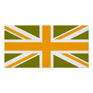 Olive and Orange Union Jack Poster
