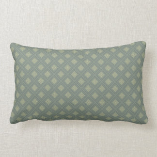 Olive and Sage Green Diamond Shapes Lumbar Pillow