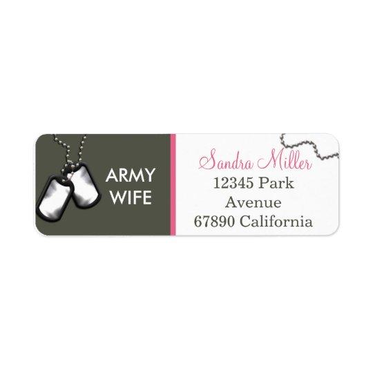 Olive and white return address label