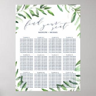 Olive Branch Boho Garden Wedding Seating Chart