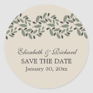 Olive branch garland wedding Save the Date Classic Round Sticker