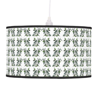 Olive branch on white background pendant lamp