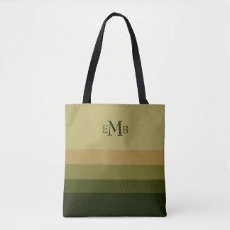 Olive Branch Palette Stripes Monogram Tote Bag