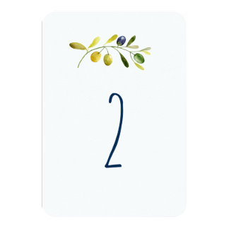 Olive branch watercolor wedding table number