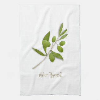 Olive Branch White Kitchen Towel