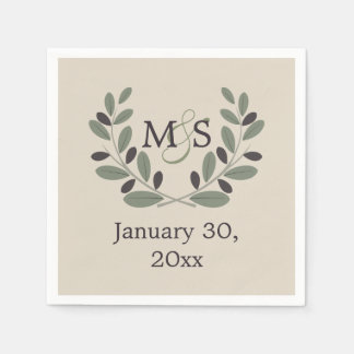 Olive branch wreath with initials wedding paper napkin